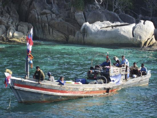 Dynamite fishermen at Pgymy Palm Point, Burma