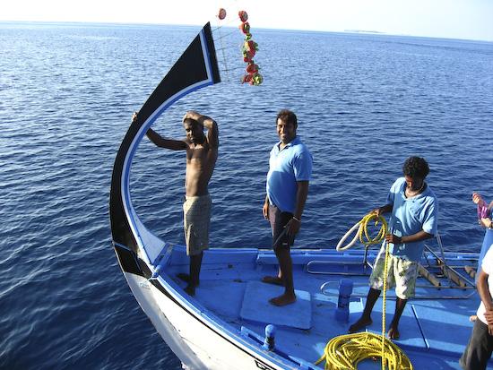 Maldives - Ali on the Dhoni